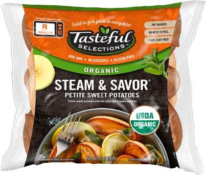 Tasteful Selections Organic Steam & Savor Petite Sweet Potatoes Recipe