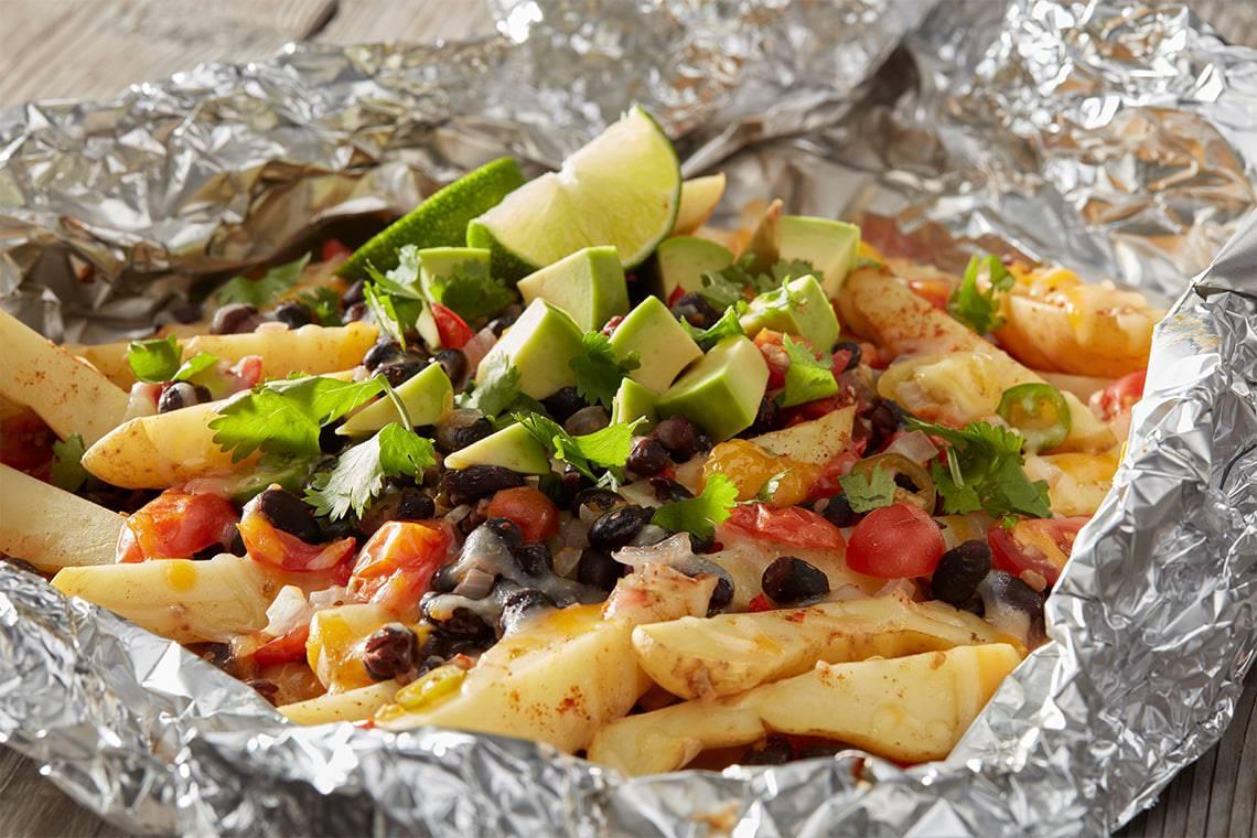 Campfire potato nachoes