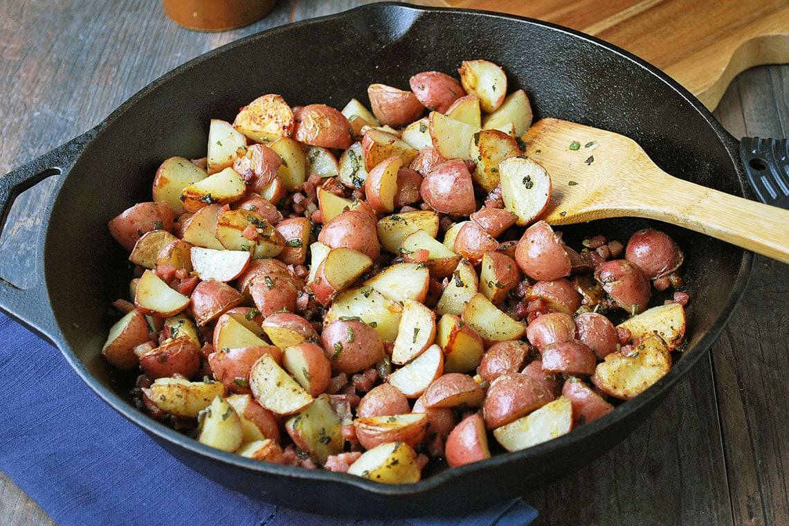 Garlic Roasted Potatoes with Sage & Prosciutto