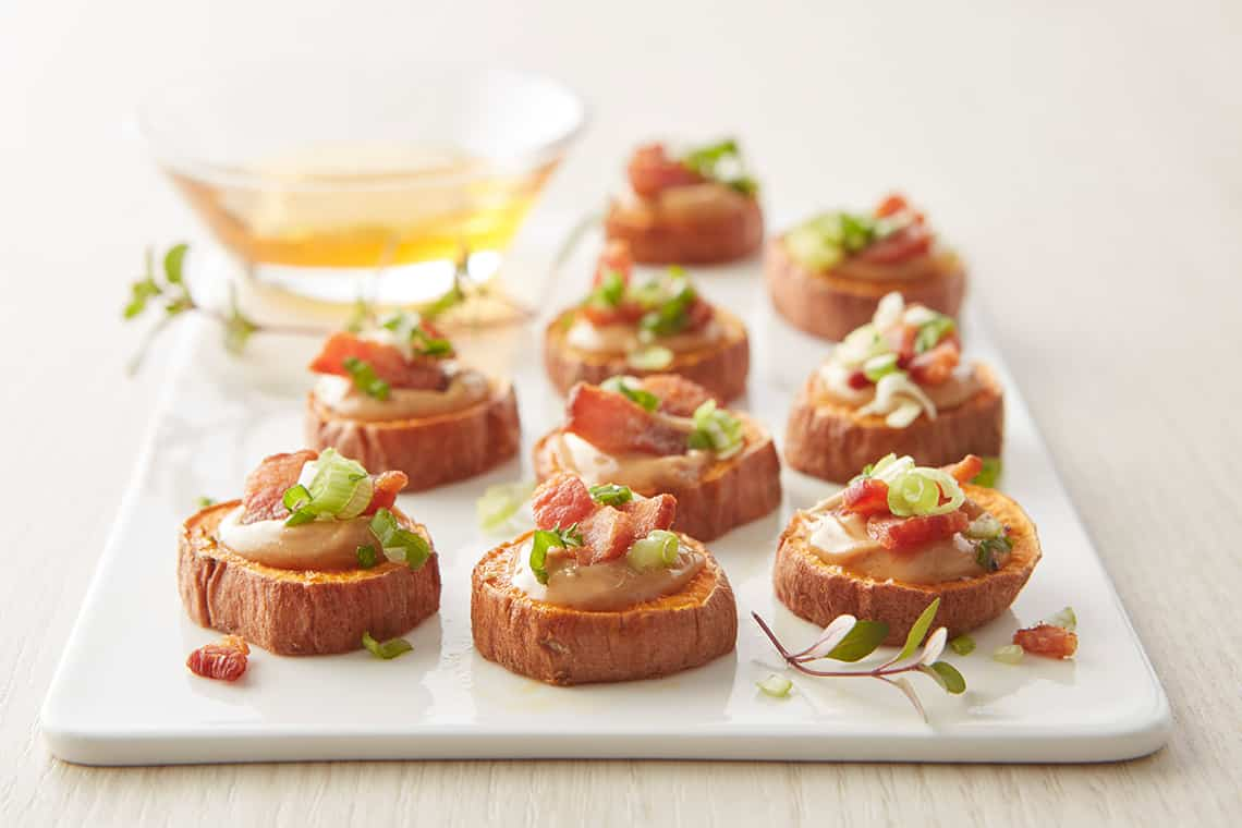 Peanut butter-Bacon Sweet Potato Bites