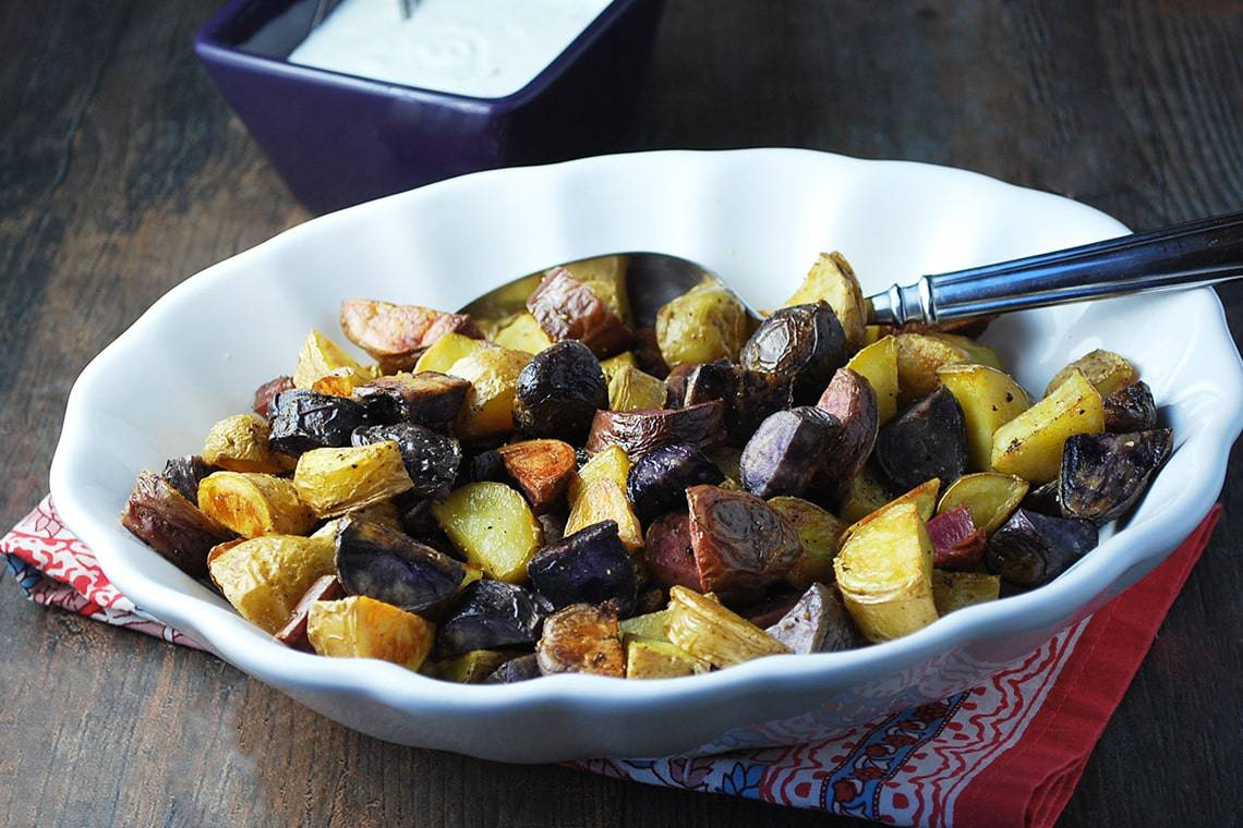 Roasted Fingerling Potatoes with Fresh Chive Dressing