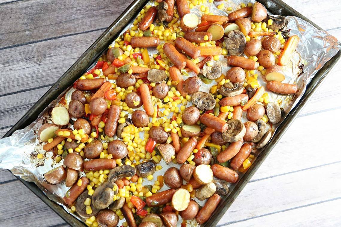 Roasted Potato, Sausage and Vegetable Salad
