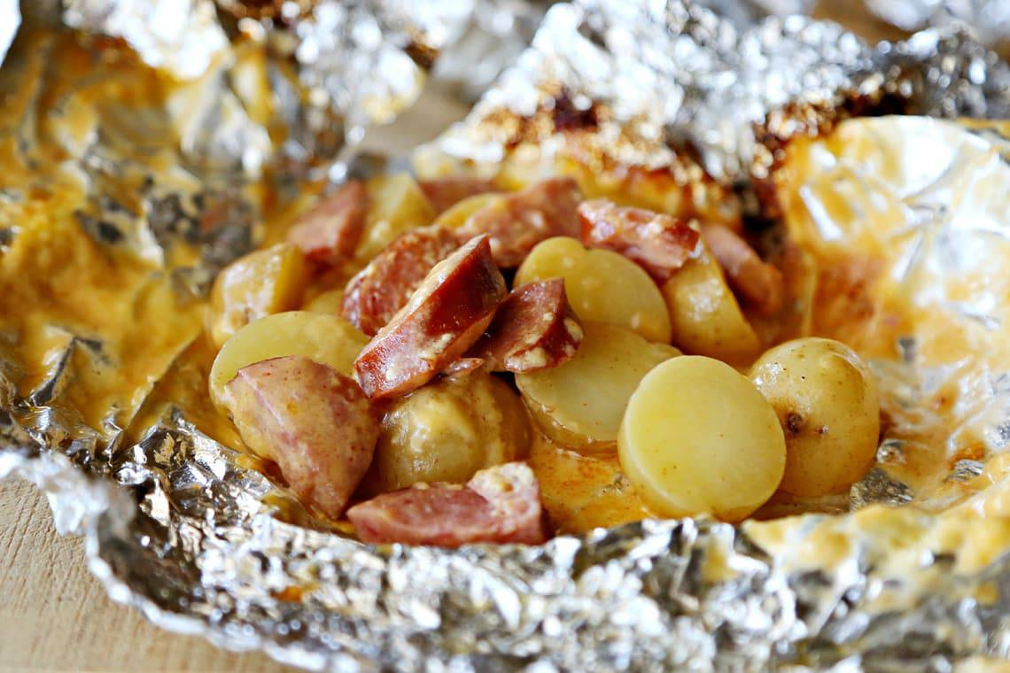 Cheesy Potato and Sausage Foil Packets