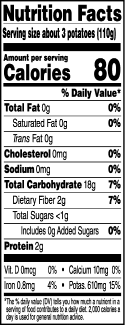 Tasteful Selections Honey Gold Bite-Size Potatoes Gusseted Bag 2-Bite Nutrition Facts