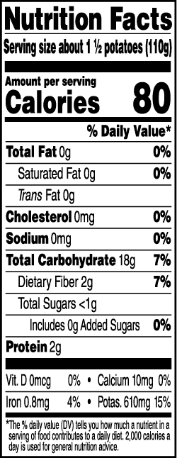 Tasteful Selections Honey Gold Bite-Size Potatoes Gusseted Bag 3-Bite Nutrition Facts