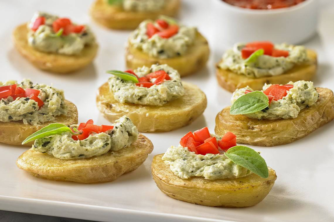Potato Crostinis with Pesto