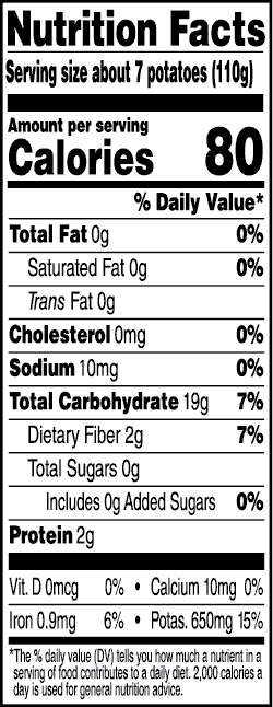 Tasteful Selections Ruby Sensation Bite-Size Potatoes Gusseted Bag 1-Bite Nutrition Facts