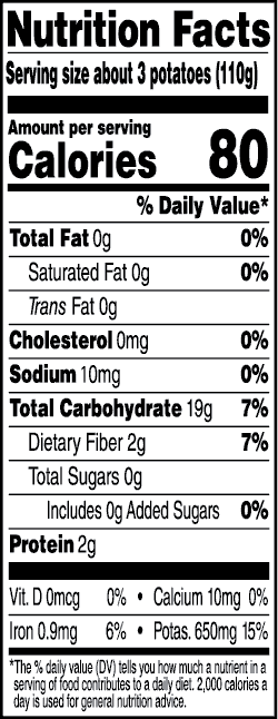 Tasteful Selections Ruby Sensation Bite-Size Potatoes Gusseted Bag 2-Bite Nutrition Facts