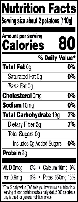 Tasteful Selections Steam & Savor Ruby Sensation Bite-Size Potatoes Nutrition Facts