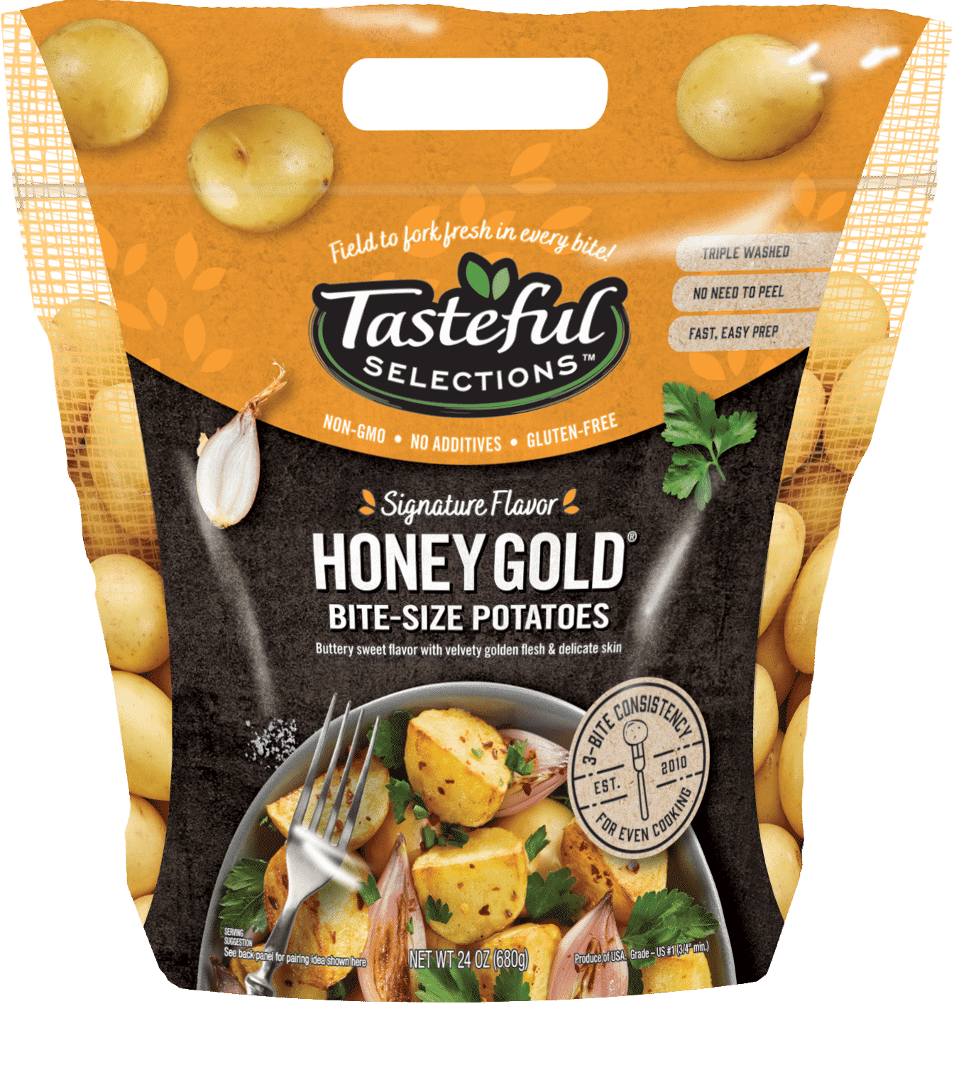 Tasteful Selections Honey Gold Bite-Size Potatoes Gusseted Bag 3-Bite