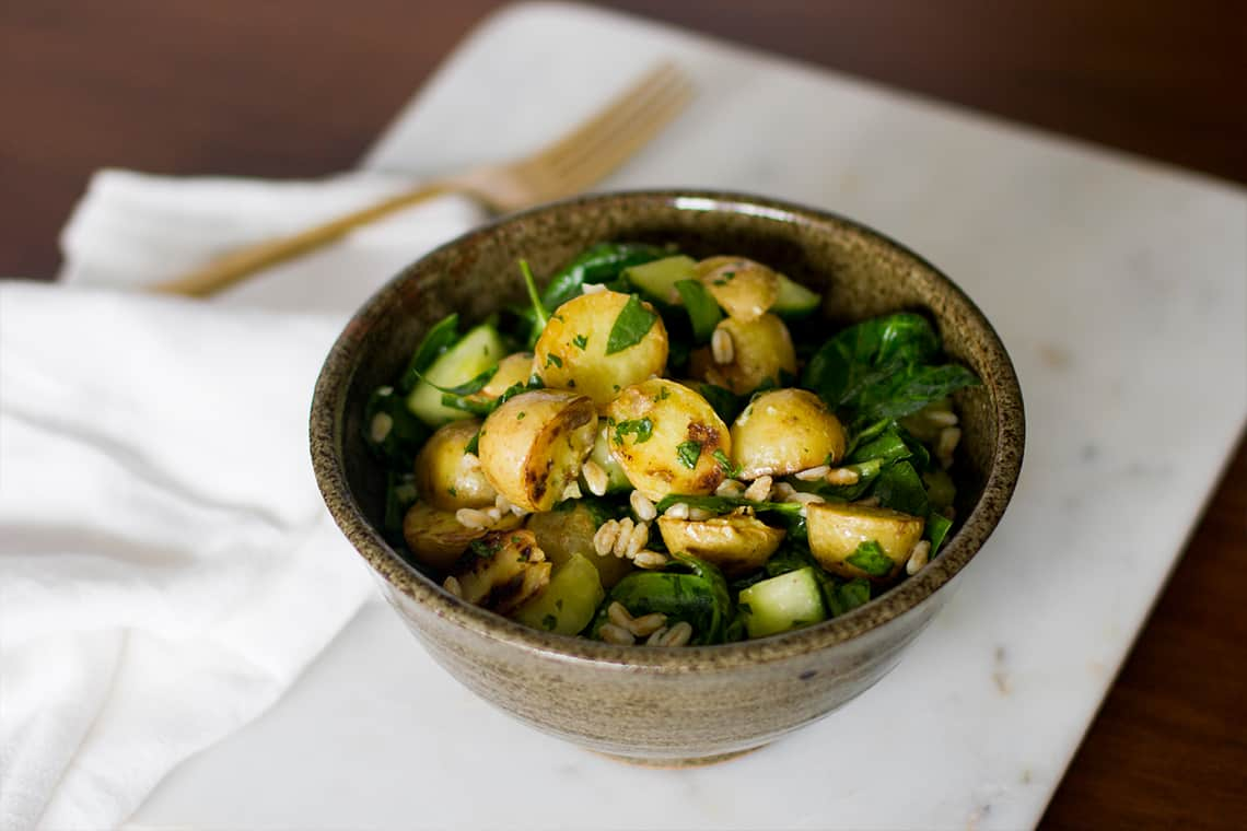 Warm Farro Salad with Honey Gold Potatoes and Spinach