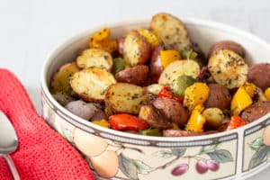 Roasted Potatoes and Vegetables (Fun Money Mom)