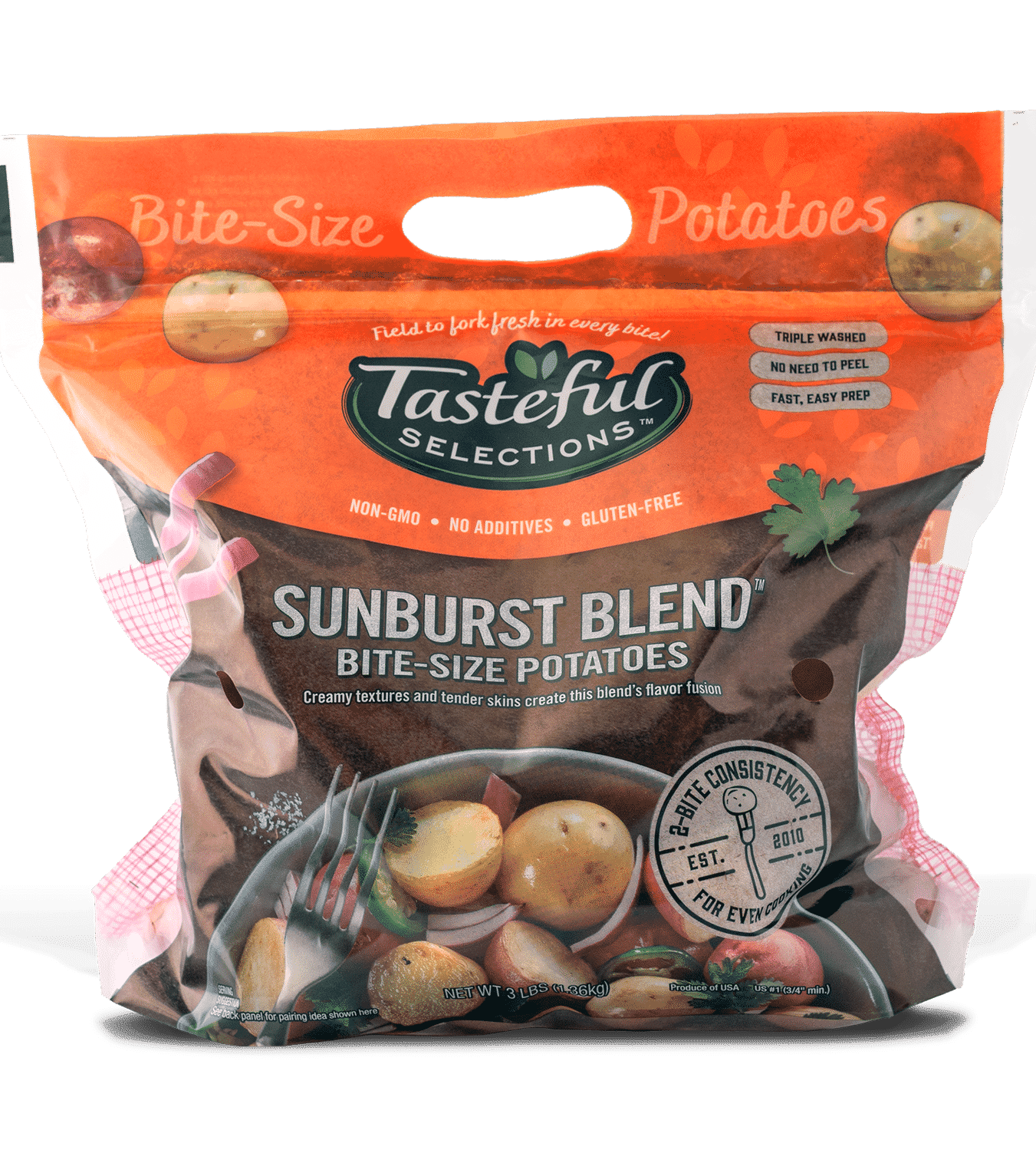 Tasteful Selections Sunburst Blend Bite-Size Potatoes Gusseted Bag 2-Bite – 3lbs