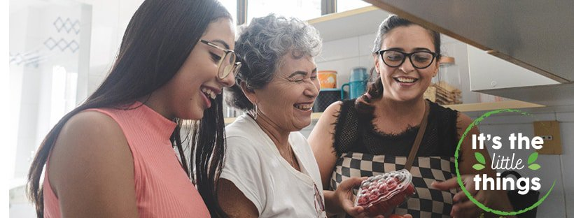 Women laughing in kitchen – It's the Little Things Facebook Header - January 2021