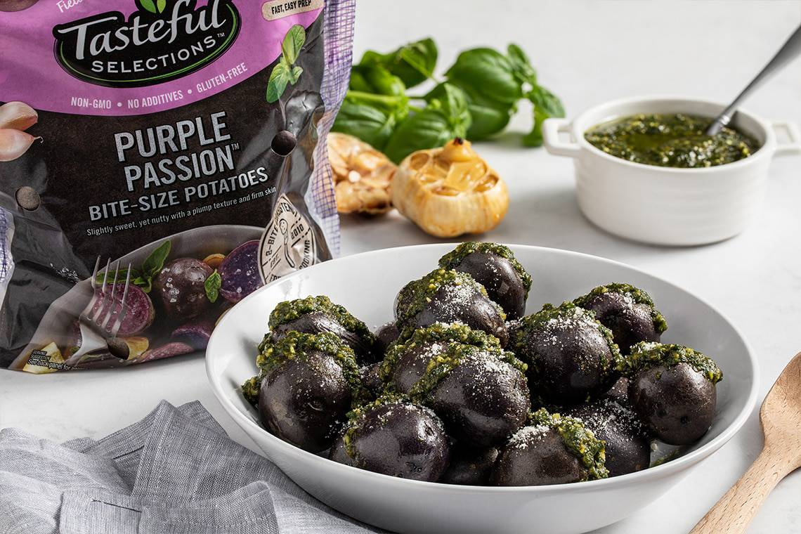 Tasteful Selections – Steamed Purple Passion Potatoes with Roasted Garlic and Pesto